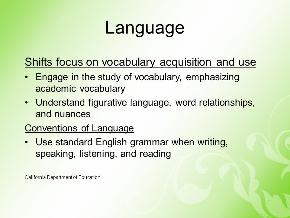 Language Shifts focus on vocabulary acquisition and use