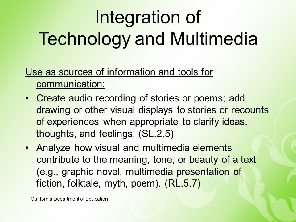 Integration of Technology and Multimedia