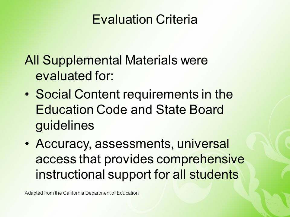 All Supplemental Materials were evaluated for: