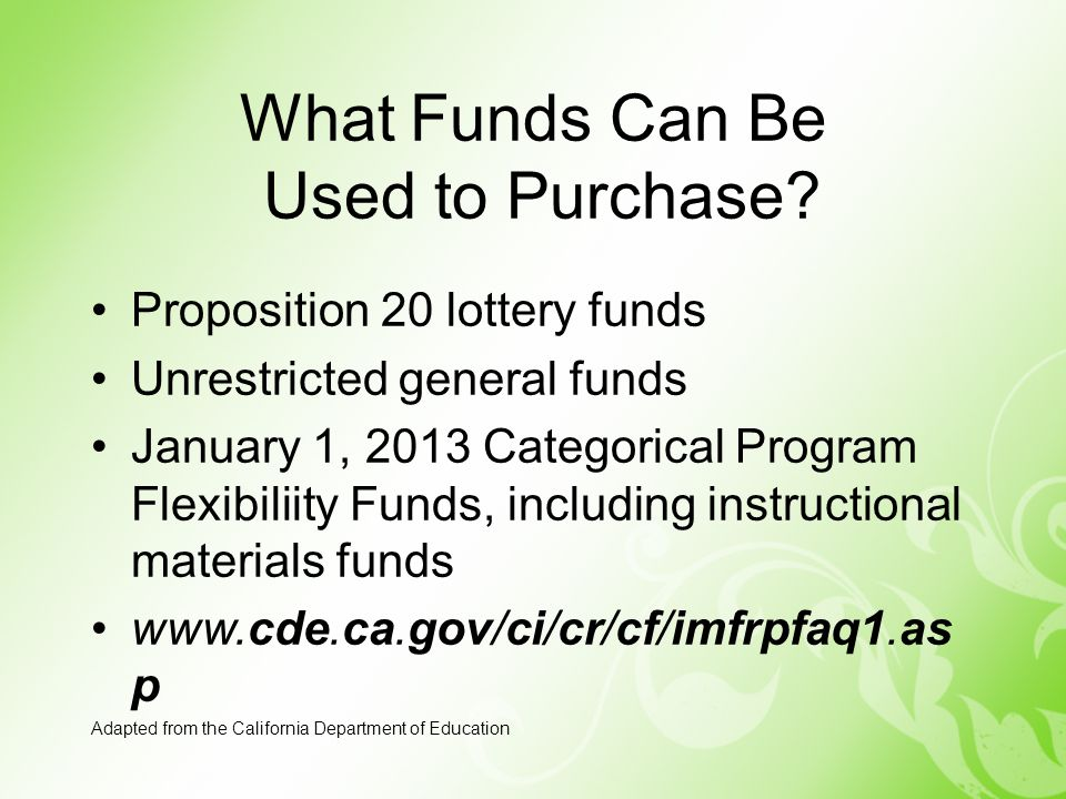 What Funds Can Be Used to Purchase