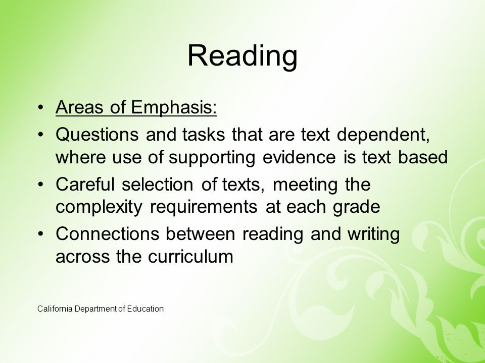 Reading Areas of Emphasis: