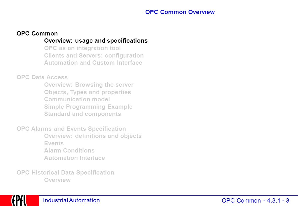 4 3 opc  open process control formerly ole for process