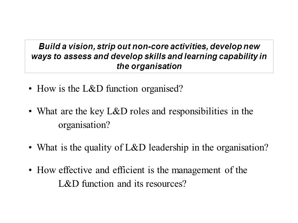 How is the L&D function organised