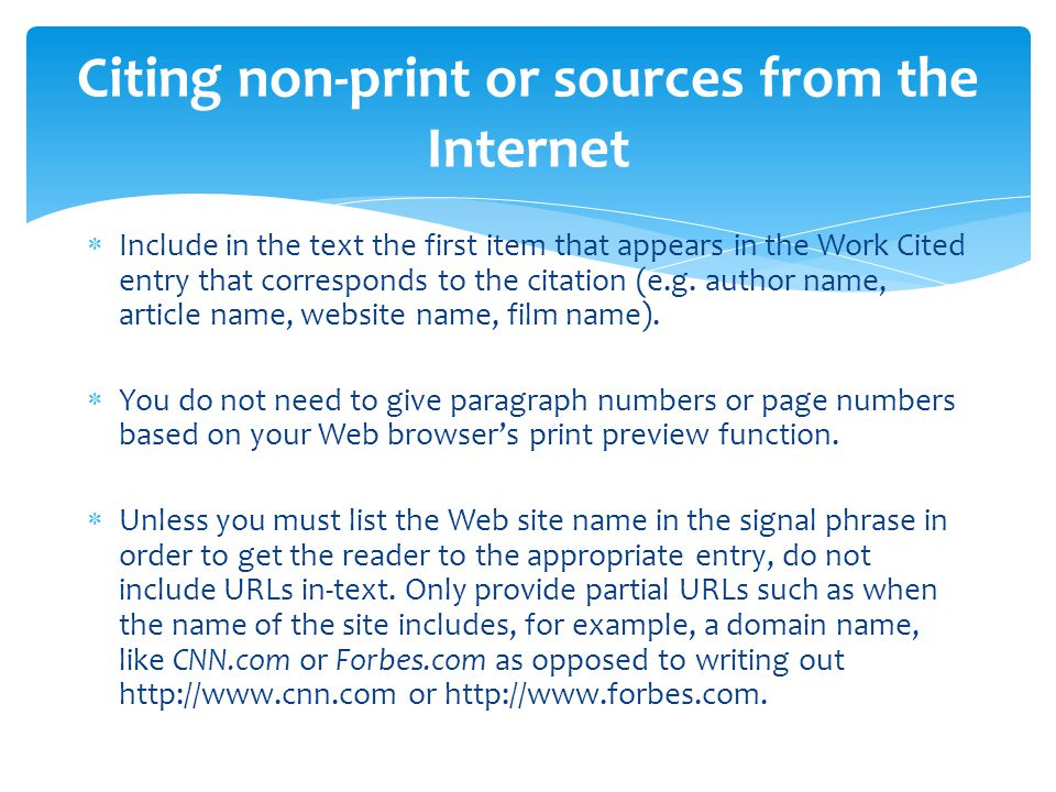 Citing non-print or sources from the Internet