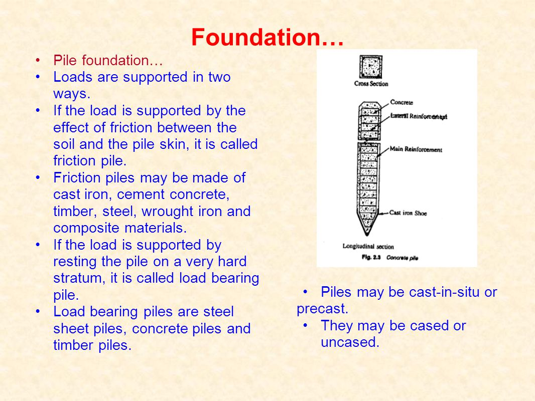 Foundation… Pile foundation… Loads are supported in two ways.