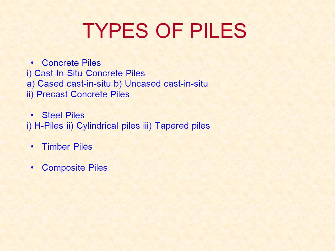 TYPES OF PILES Concrete Piles i) Cast-In-Situ Concrete Piles