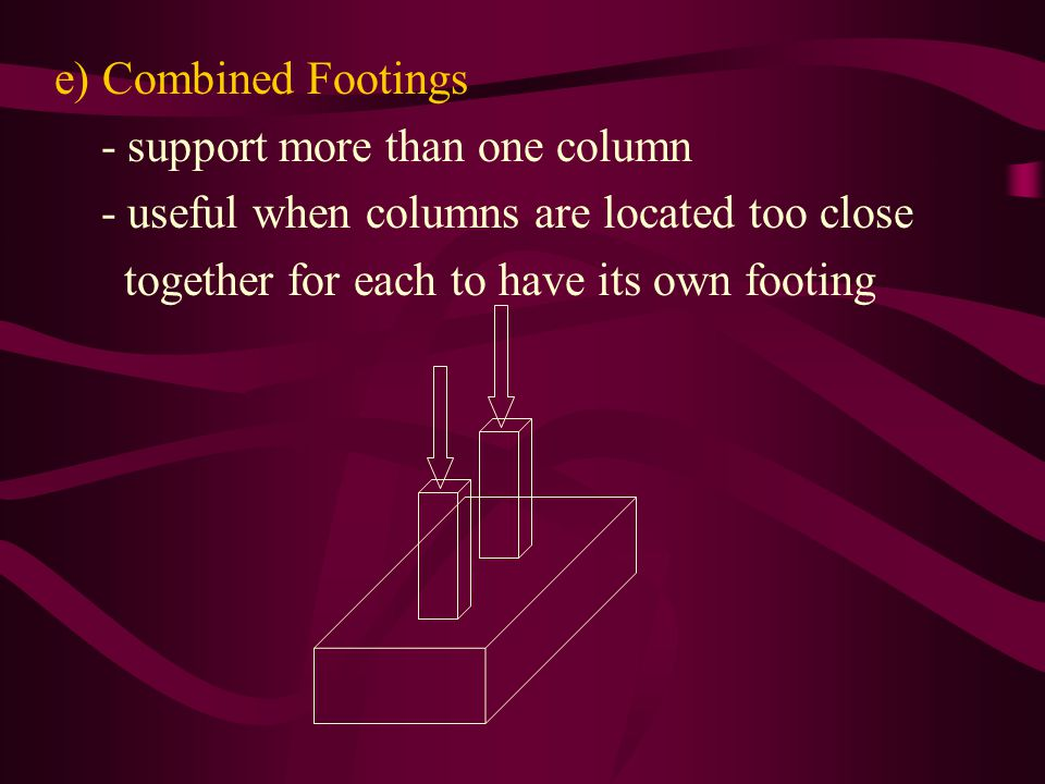 e) Combined Footings - support more than one column.