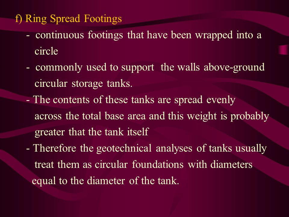 f) Ring Spread Footings