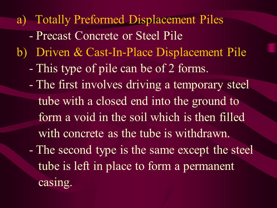 Totally Preformed Displacement Piles