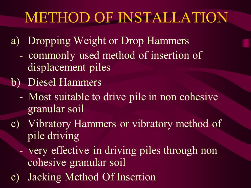 METHOD OF INSTALLATION