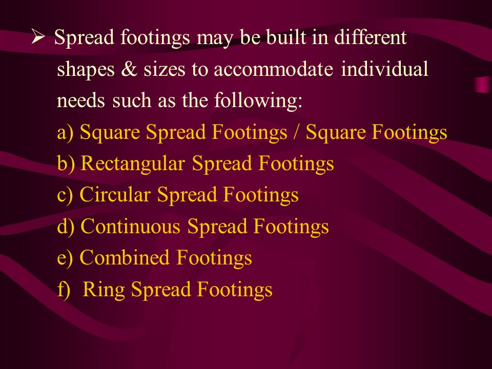 Spread footings may be built in different