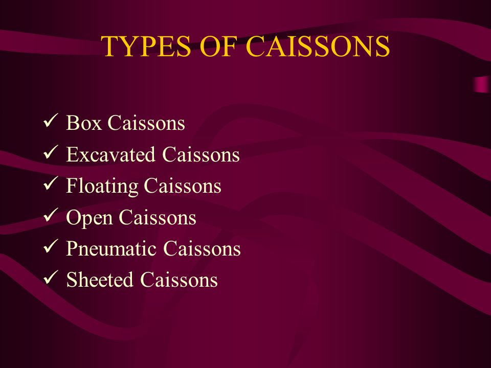 TYPES OF CAISSONS Box Caissons Excavated Caissons Floating Caissons
