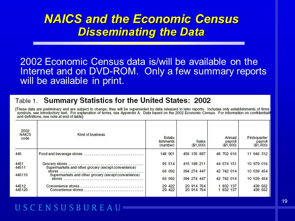 NAICS and the Economic Census Disseminating the Data