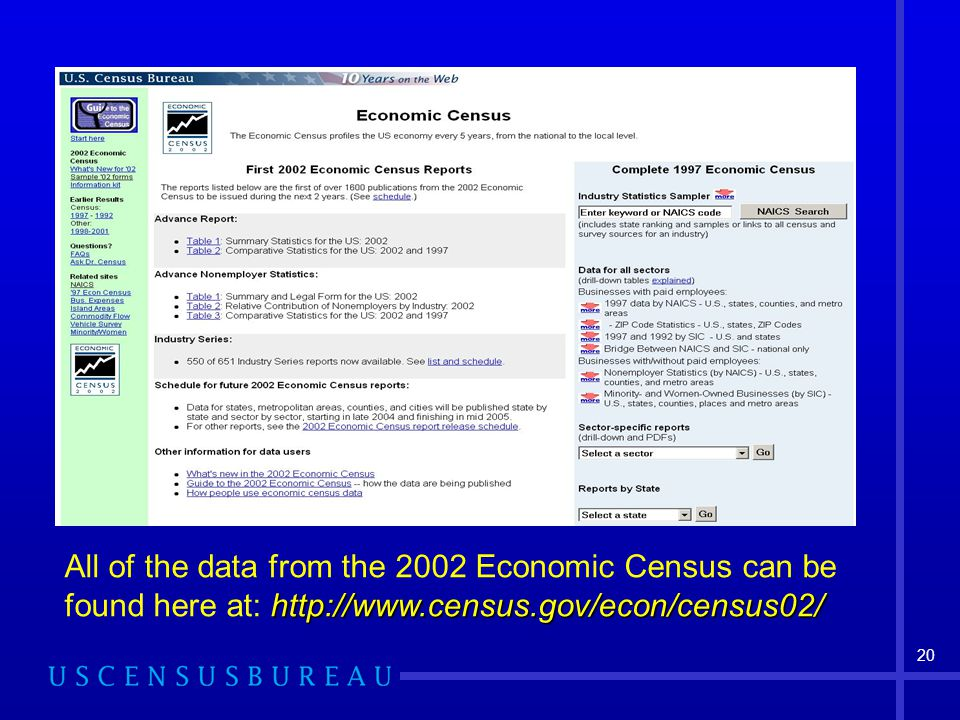 All of the data from the 2002 Economic Census can be found here at: