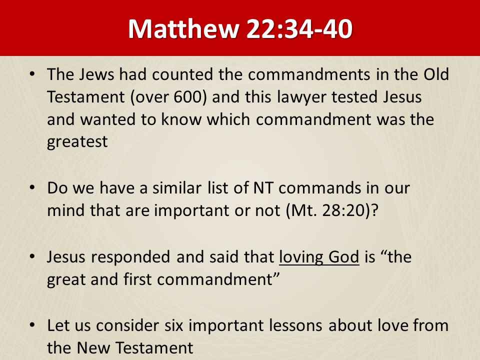 The Greatest Commandment In Bible