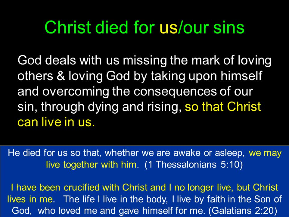 Christ died for us/our sins