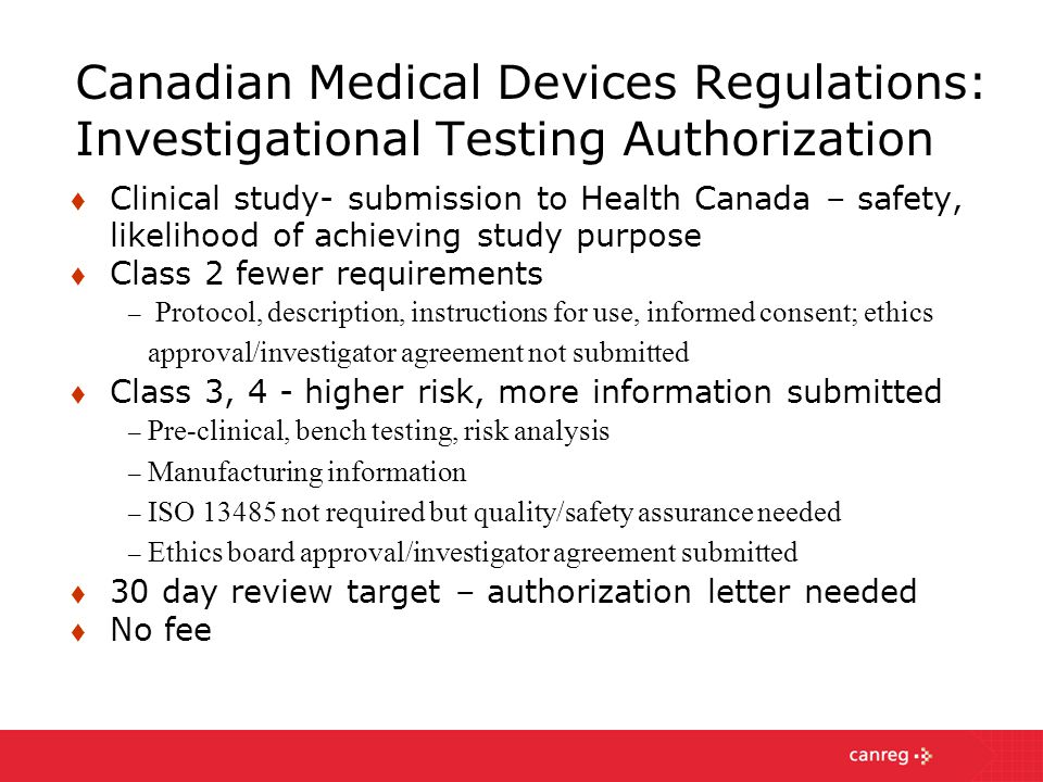 Canadian Medical Devices Regulations: Investigational Testing Authorization