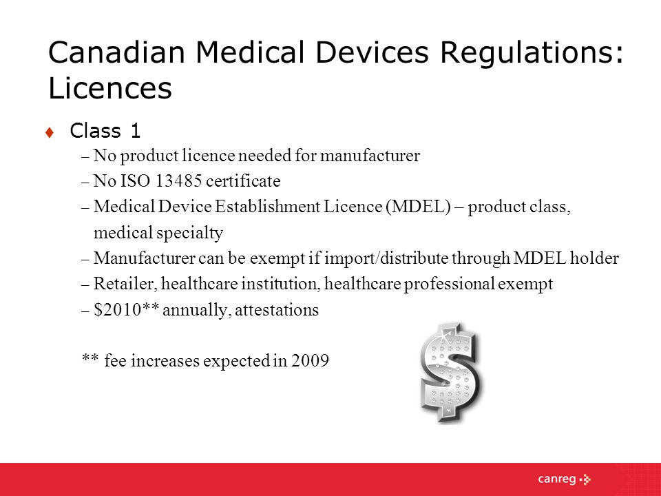 Canadian Medical Devices Regulations: Licences