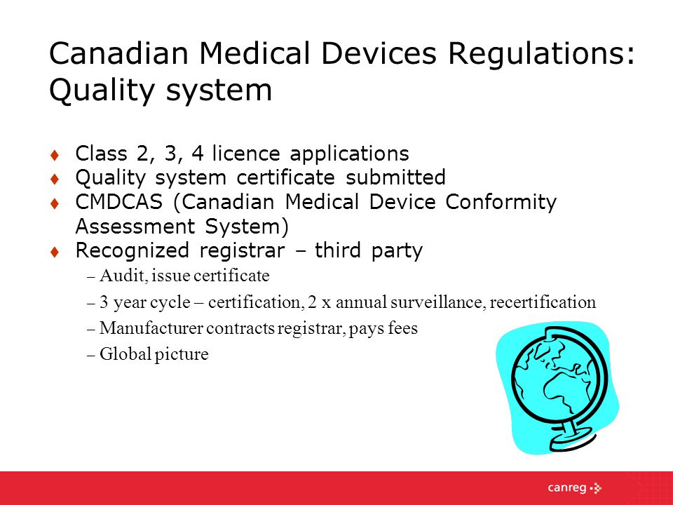 Canadian Medical Devices Regulations: Quality system