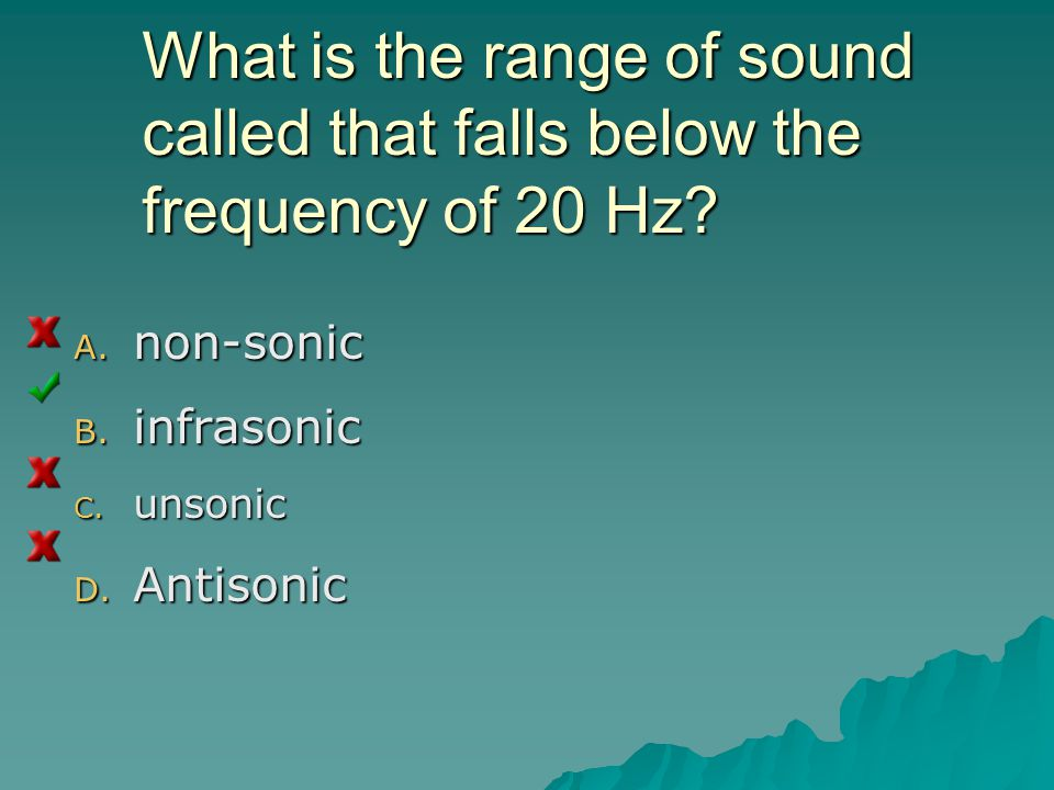What is the range of sound called that falls below the frequency of 20 Hz