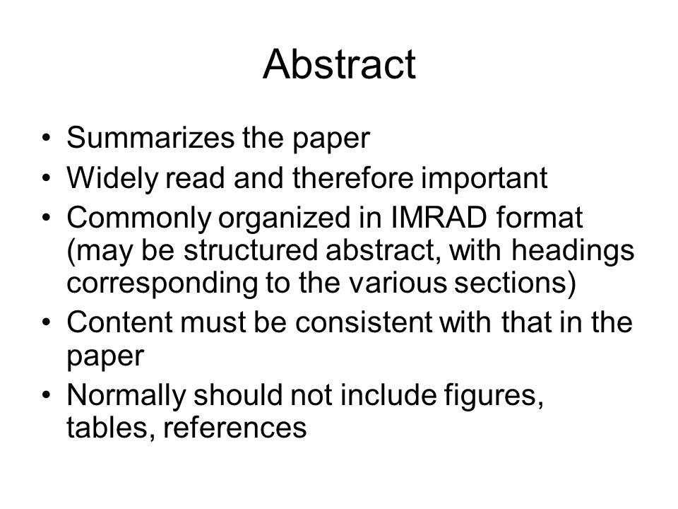 Writing a Scientific Paper: Basics of Content and Organization - ppt ...