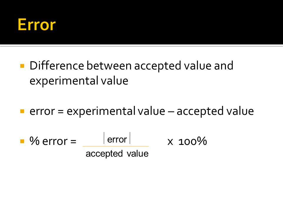 Error Difference between accepted value and experimental value