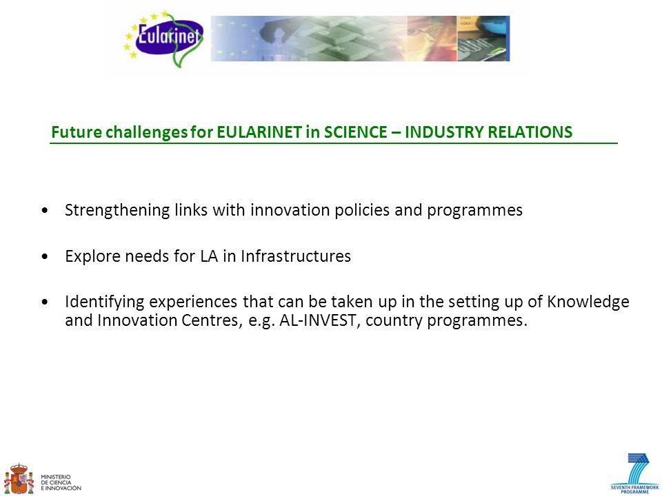 Future challenges for EULARINET in SCIENCE – INDUSTRY RELATIONS