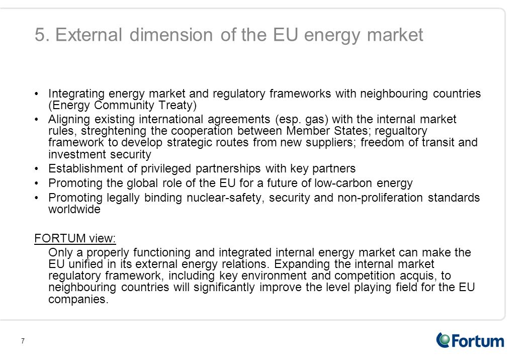 5. External dimension of the EU energy market