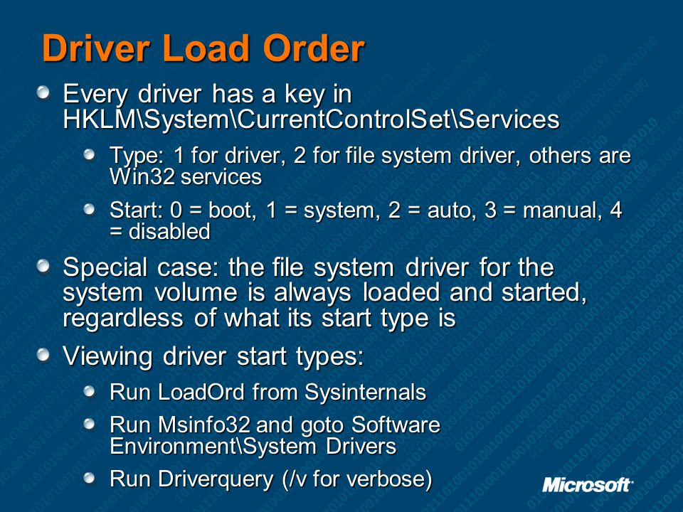 Driver Load Order Every driver has a key in HKLM\System\CurrentControlSet\Services.
