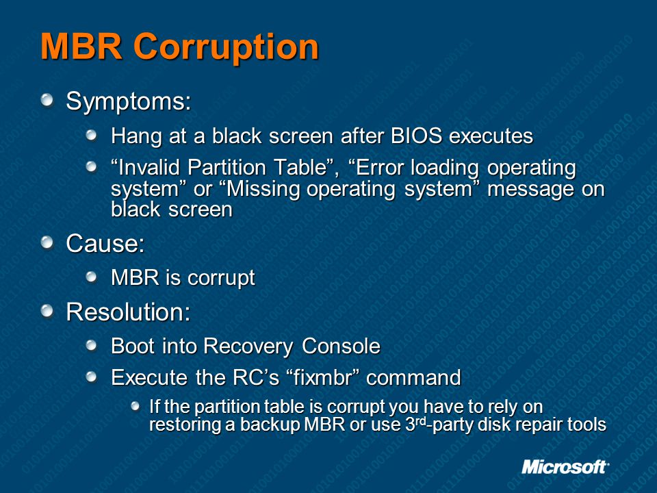 MBR Corruption Symptoms: Cause: Resolution: