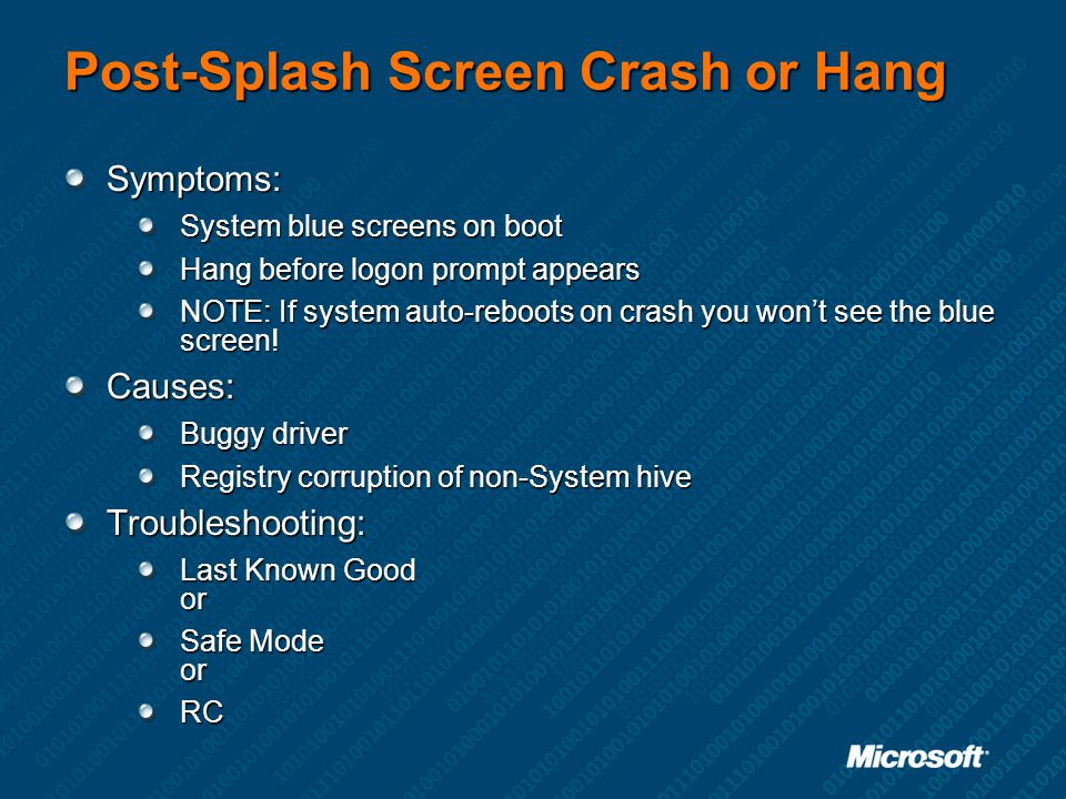 Post-Splash Screen Crash or Hang