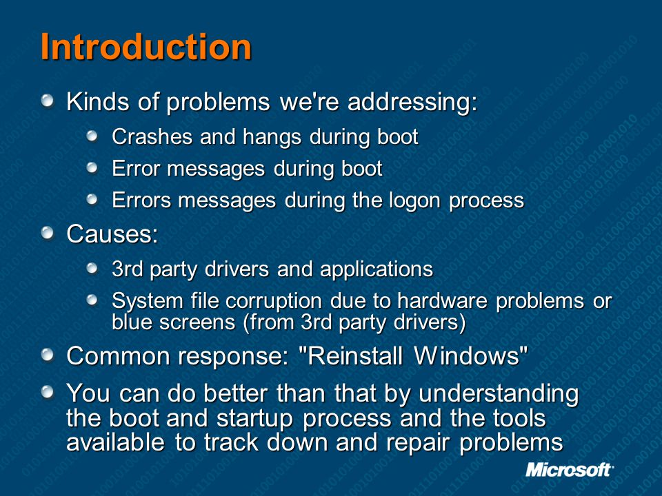 Introduction Kinds of problems we re addressing: Causes: