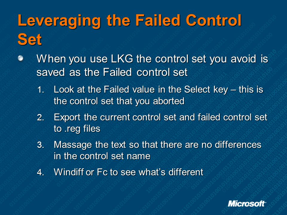 Leveraging the Failed Control Set