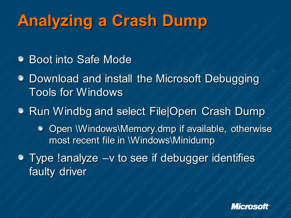 Analyzing a Crash Dump Boot into Safe Mode