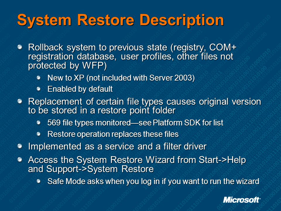 System Restore Description