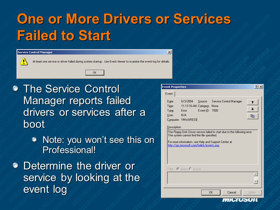 One or More Drivers or Services Failed to Start