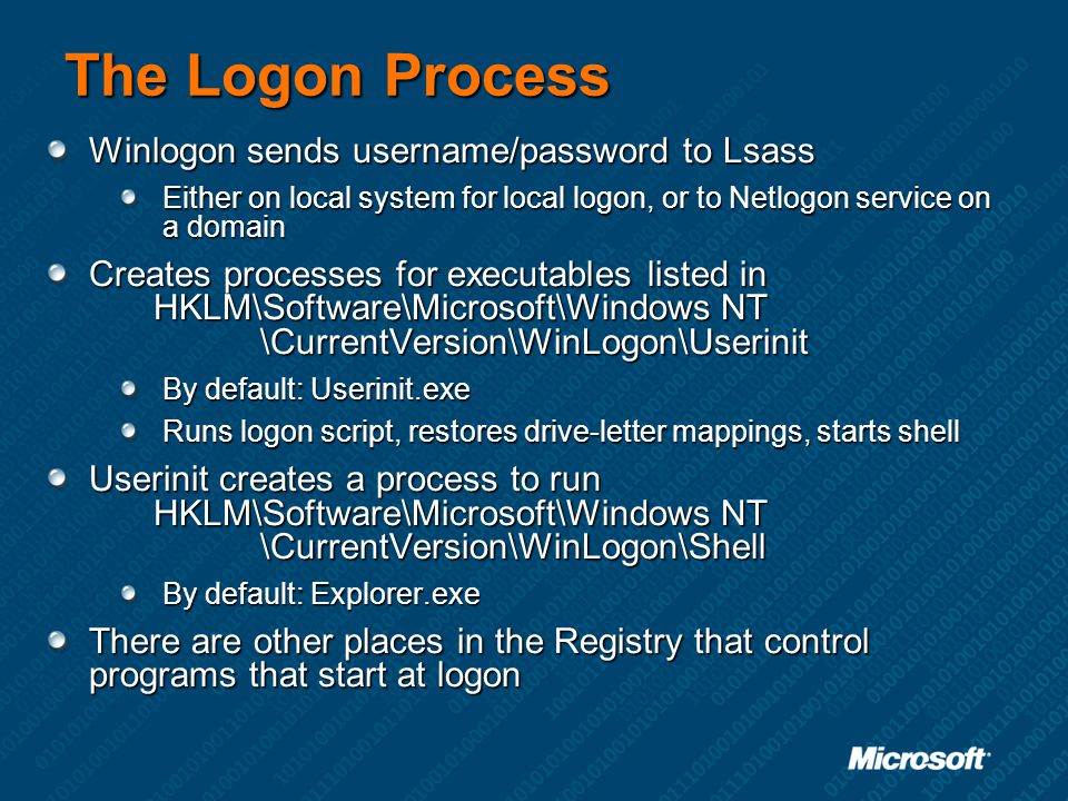 The Logon Process Winlogon sends username/password to Lsass