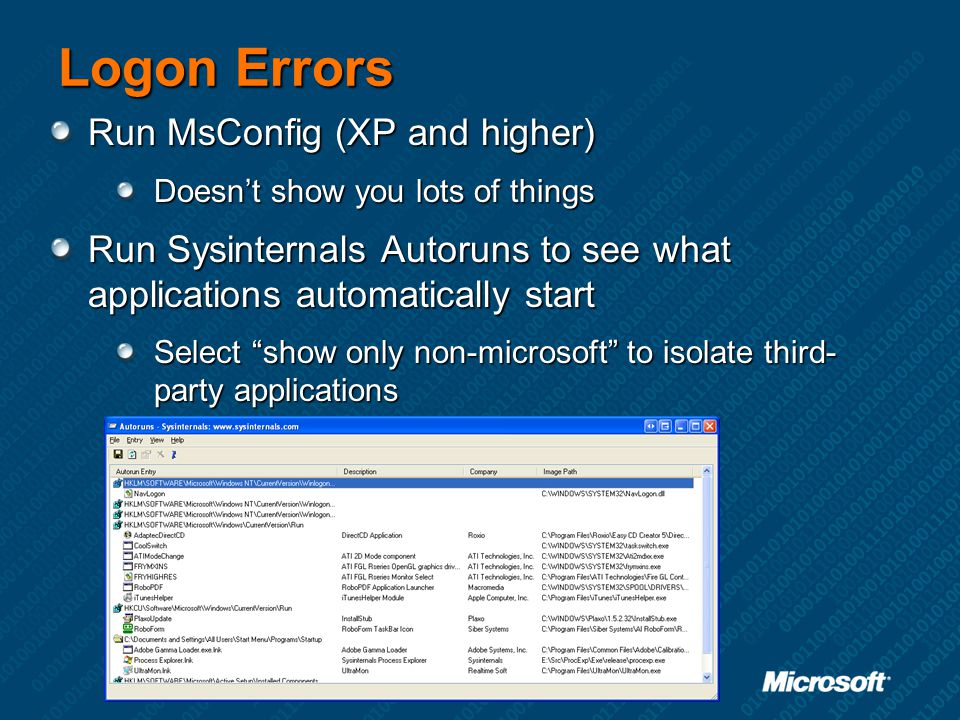 Logon Errors Run MsConfig (XP and higher)