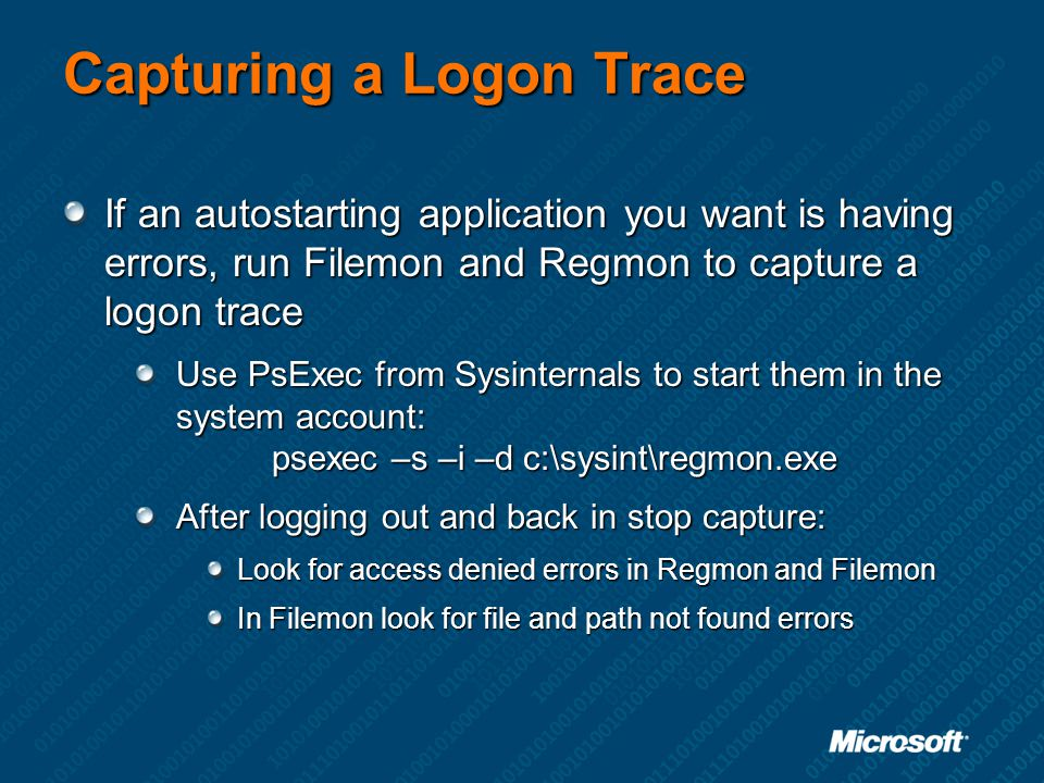 Capturing a Logon Trace