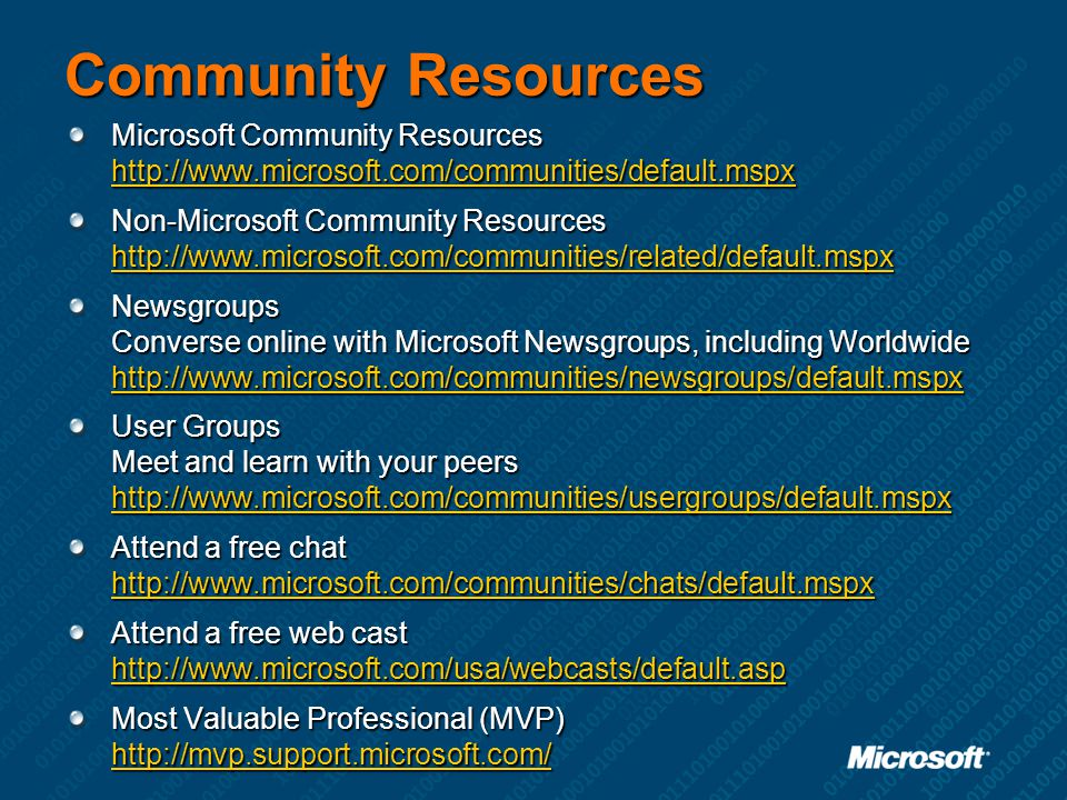 Community Resources Microsoft Community Resources