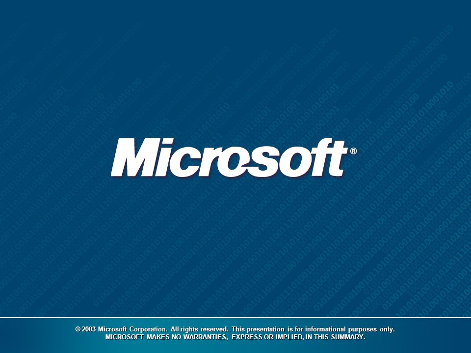 © 2003 Microsoft Corporation. All rights reserved