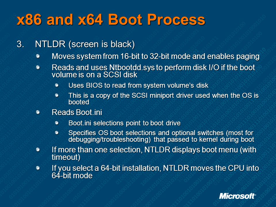x86 and x64 Boot Process NTLDR (screen is black)