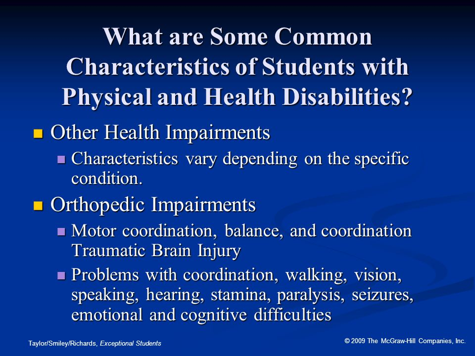 What are Some Common Characteristics of Students with Physical and Health Disabilities