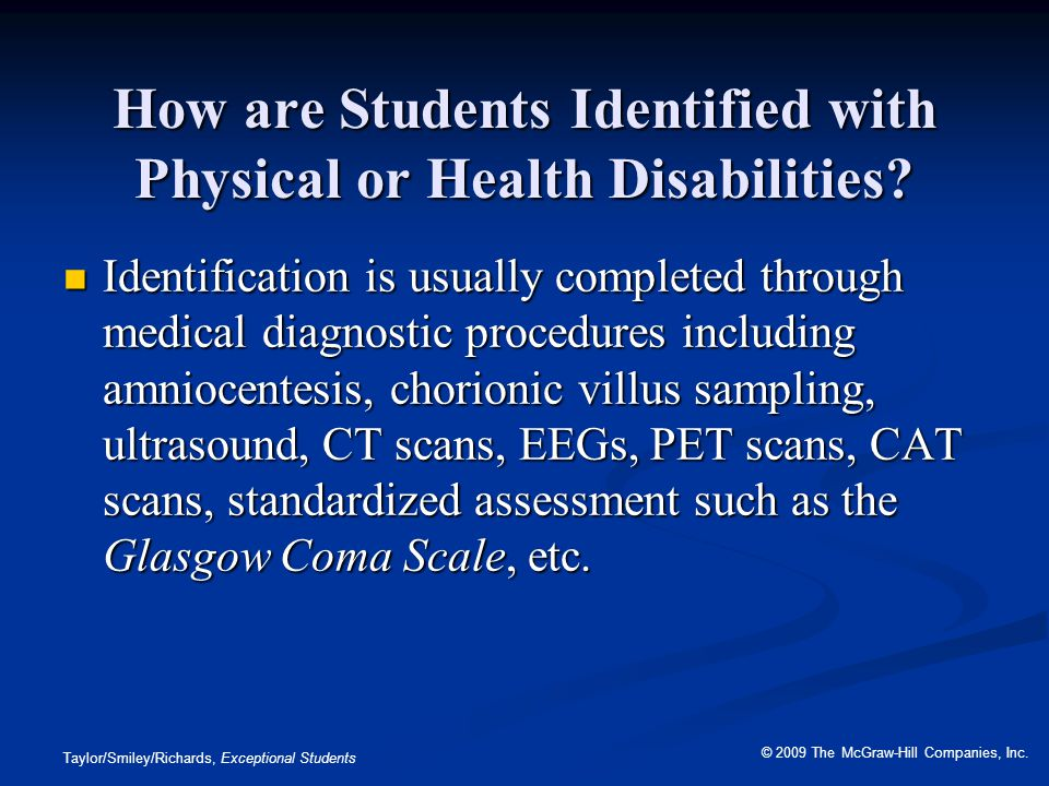 How are Students Identified with Physical or Health Disabilities