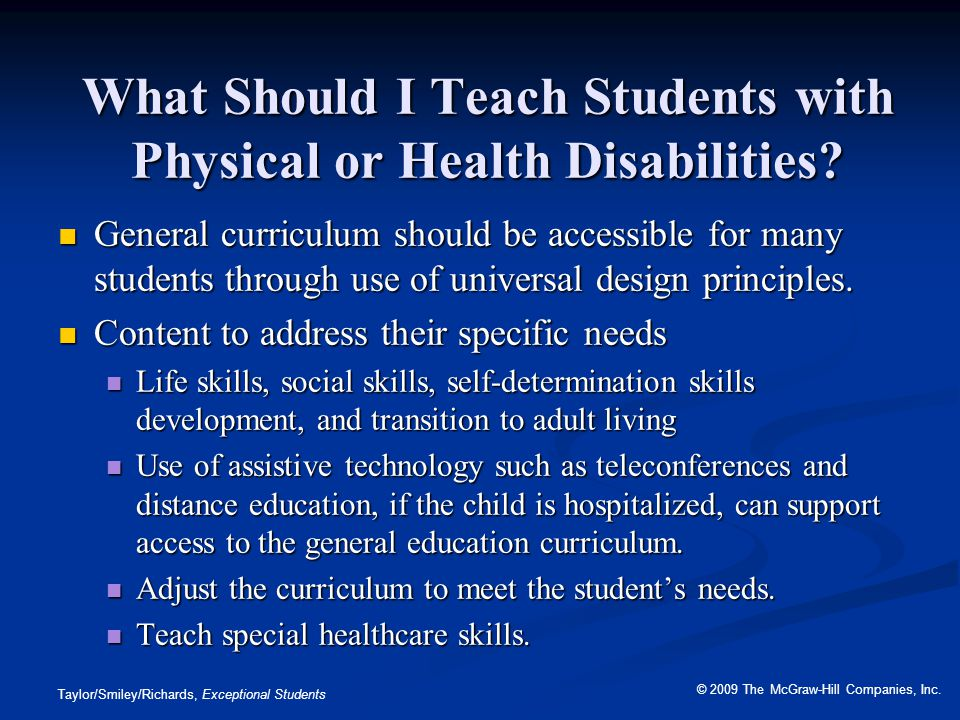 What Should I Teach Students with Physical or Health Disabilities