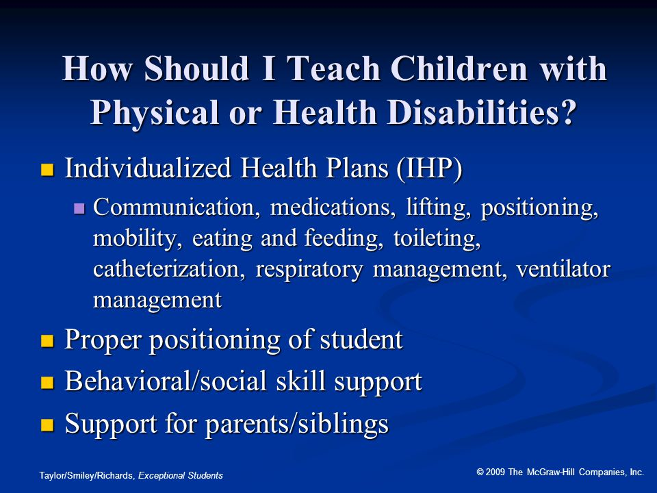 How Should I Teach Children with Physical or Health Disabilities