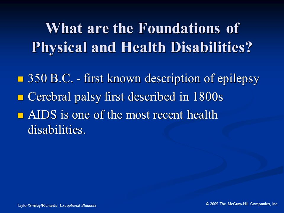 What are the Foundations of Physical and Health Disabilities