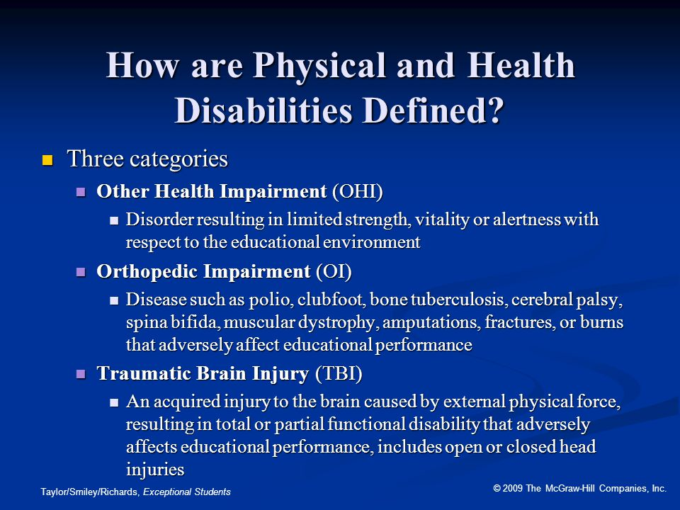 How are Physical and Health Disabilities Defined