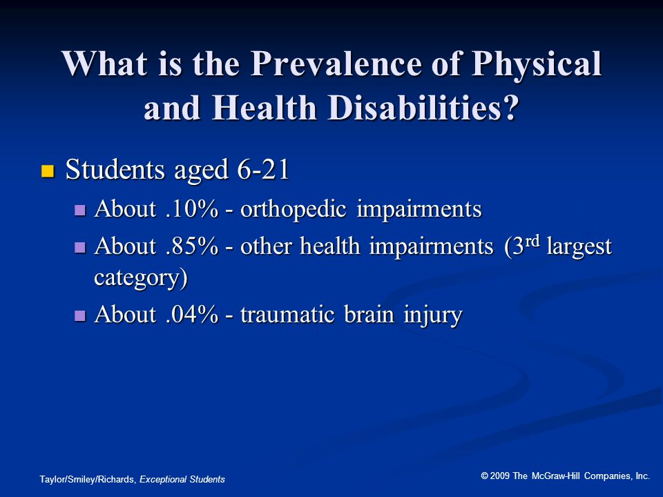 What is the Prevalence of Physical and Health Disabilities