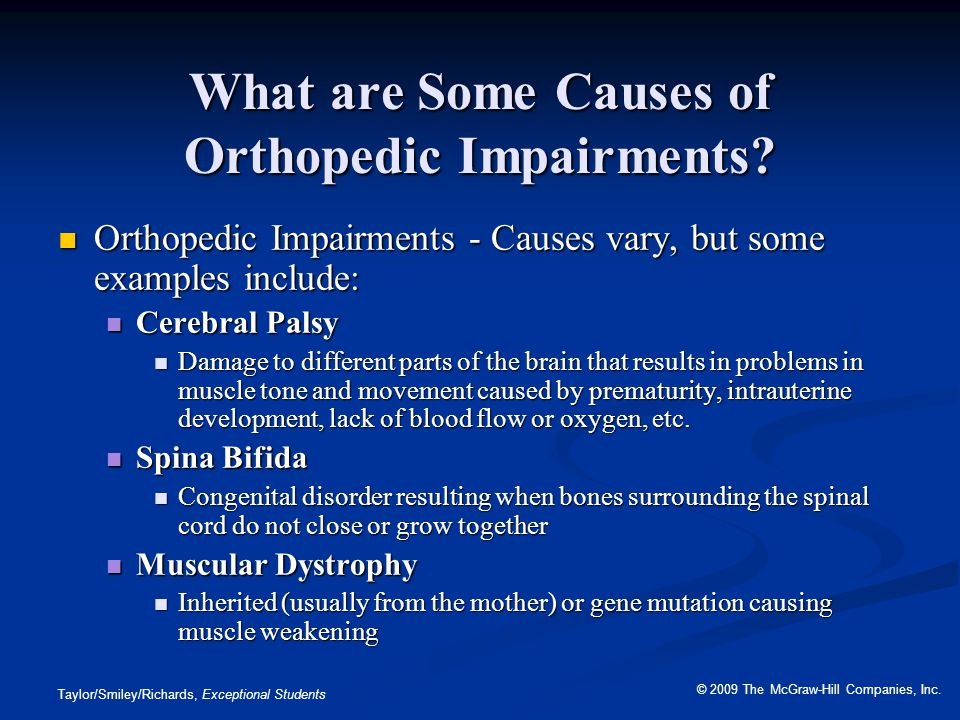 What are Some Causes of Orthopedic Impairments